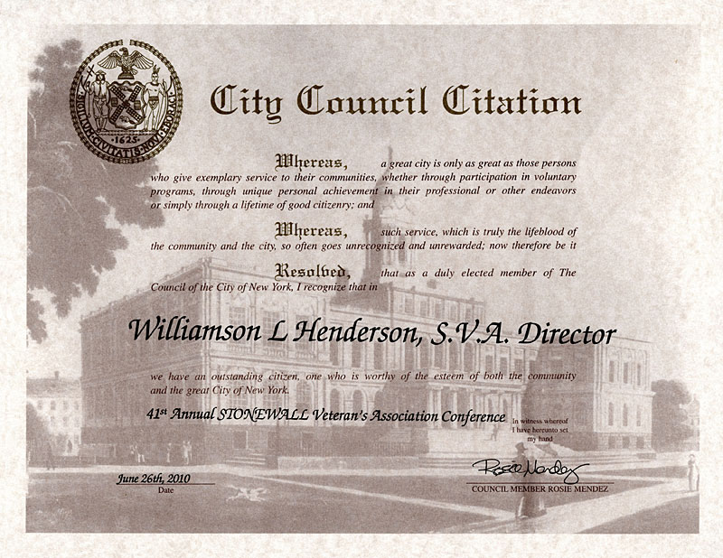 Williamson Henderson NYC Council
